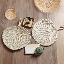 Chinese Style Vintage Palm Leaf Hand Held Fan Handmade Weave Fan Artwork Craft