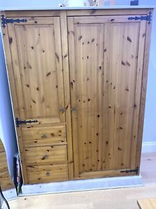 Solid Wood Wardrobe With 3 Drawers.