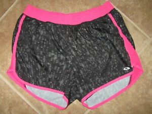 Champion Running Shorts Size Large Black and Gray with Pink Liner
