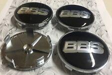 4x BBS Black / Silver Alloy Wheel Centre Caps 68mm Badge 3D Logo Decal Emblem UK