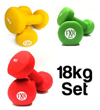 FXR SPORTS 6 x 18KG NEOPRENE DUMBBELLS SET - 1, 3 & 5KG - DUMBBELL GYM FITNESS