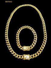 12mm Men Cuban Miami Link Bracelet Chain Set 14k Gold Plated Stainless Steel