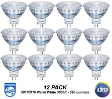 12 x Premium Philips LED Downlight Globes / Bulbs 5W 12V MR16 GU5.3 Warm White