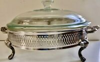 Oneida Silver Plate Footed Serving Dish With Pyrex Bowl and Lid