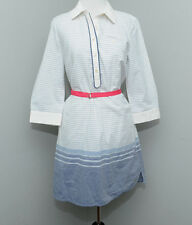 Tommy Hilfiger Women's Small S Belted Blue Chambray White Striped Shirt Dress
