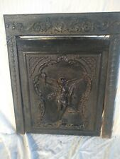 1895 ANTIQUE CAST IRON FIREPLACE INSERT COVER FRAME SURROUND ORNATE
