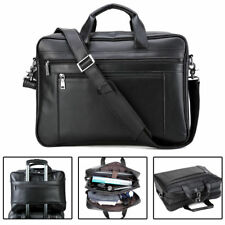 "Men's Leather Luxury 17"" Laptop Satchel Briefcase Luggage Messenger Shoulder Bag"