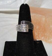 1 carat tcw white baguette black pave diamond sterling silver ring size 7