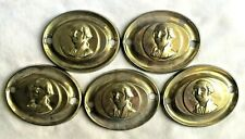 "Vintage Set of 5 GEORGE WASHINGTON Repro Brass Drawer Pull Backplates 3 3/16"" w"