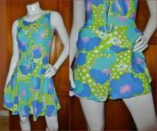 VTG 70s MOD Floral Beach Party Swimwear PlaySuit Shorts Skirt One Piece DRESS