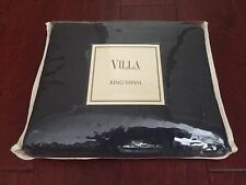 Noble Excellence Villa KING Vintage BELGIAN LINEN Sham NAVY Quilted WASHED NWT