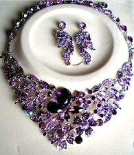 Gorgeous Purple CZ Dragonfly Necklace & Matching Earring Set Silver Tone