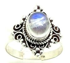 Amazing Design Oval Moonstone Sterling Silver 925 Ring 4g Sz6.5 POE051