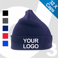 19db5ceba9e 32X Personalised Embroidered  Printed Woolly Ski Beanie Custom Hat Cap  Text Logo