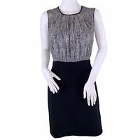 Ann Taylor LOFT Black Ivory Sleeveless Career Keyhole Back Sheath Dress Size 2