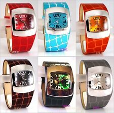 Faux Leather Band Square Watches with 12-Hour Dial