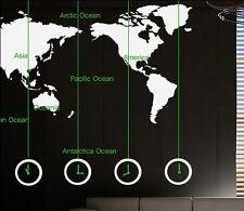 Wide 180cm World Map Words Clock Vinyl Wall Paper Decal Art Sticker T104