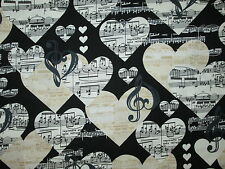 MUSIC NOTES HEARTS WHITE CREAM BLACK COTTON FABRIC FQ