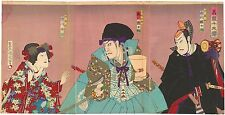Genuine original Japanese woodblock print Triptych Kunichika