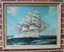 Vintage SAILING Ship CLIPPER Yacht BOAT Nautical Azure Ocean Art FRAMED 1940s
