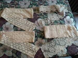 Vtg Lot Three Different Floral Design Lace Trims In Beige 4 Lengths Total 10 Yds