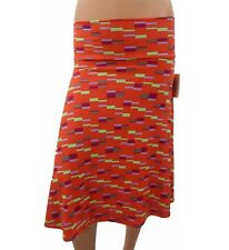 Lularoe Azure Skirt Blocks Lines Red Green Purple Gray XS X-Small NWT