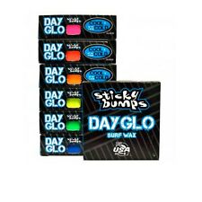 7 sticky bumps colored surfboard wax 6 bars DayGlo cool/cold 1 basecoat wax comb