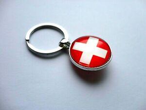 Switzerland Flag Double Sided Dome Keyring