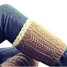 Lace Womens Warm Boot Cover Wool Toppers Cuffs Crochet Socks Knitting Fashion FA