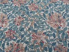 William Morris Curtain Fabric 'Honeysuckle' 3.8 METRES Cream/Wine 100% Cotton