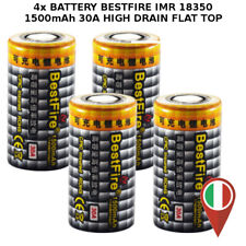 4x BATTERY BESTFIRE IMR 18350 FLAT TOP 1500mAh 3.7v 30A HIGH DRAIN BATTERIA