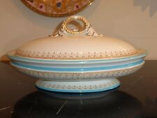 ROYAL WORCESTER ANTIQUE CIRCA 1876 TEAL TURQUOISE COVERED CASSEROLE