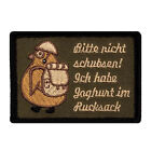Bitte nicht schubsen ich habe Joghurt im Rucksack Pinguin Fun Patch mit Klett