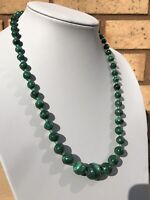 Vintage 1950s Graduated MALACHITE Bead Necklace with screw barrel clasp 55cm