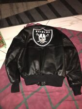 Vntg OAKLAND RAIDERS DeLONG JACKET Sz46 Faux Leather Wool USA Made Varsity