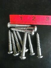 """14 x 1 3/4""""  ROUND HEAD SLOTTED STAINLESS WOOD SCREWS - QTY 10"""