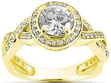 1.38 carat Solitare Round Brilliant Diamond Halo Engagement 14k Yellow Gold Ring