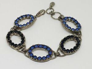 Sorrelli Blue Crystal Oval Link Silver Tone Bracelet