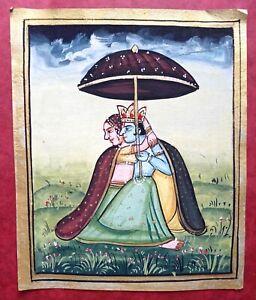 Radha Krishna Love Colorful Handmade Miniature Painting SM10573
