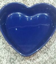 "Chantal Cobalt Blue Heart Ceramic Stoneware Baking Dish 2"" tall 10""across"