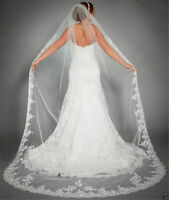 New White/ivory Bridal Cathedral Veil Lace Edge Bridal Wedding Veil With Comb