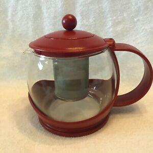 RED PYREX TEA INFUSER-- STEEPER--PYREX GLASS--PLASTIC--METAL INFUSER