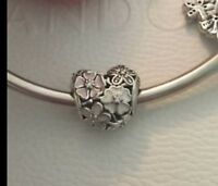 Genuine Pandora 1/2 PRICE SALE Poetic Blooms Heart Charm With Pandora Gift Pouch