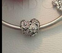 Genuine Pandora 1/2 PRICE SALE Poetic Blooms Heart Charm & Pandora Gift Pouch