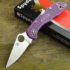 Spyderco Delica 4 Purple Flat Ground VG-10 Lockback Knife C11FPPR