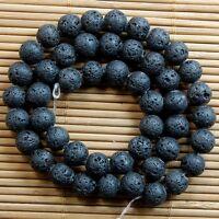 Natural Nature Black Volcanic Lava Gemstone Round Beads TY