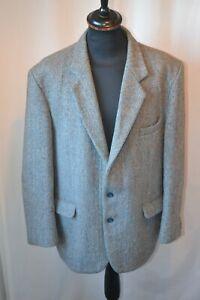 Vintage blue Harris Tweed new wool sports jacket size XL  country Hacking