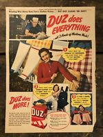 RARE Vintage 1944 DUZ Laundry Soap AD WWII Era Colorized Photos 11.5x15 FRAME IT