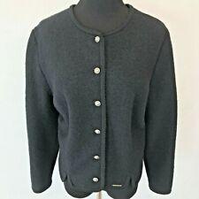 Vintage Geiger Sweater size 16 Xl 46 Boiled Black Wool Cardigan made Austria Sv