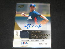 TJ WALZ USA CERTIFIED AUTHENTIC SIGNED AUTOGRAPHED GAME USED JERSEY CARD /799